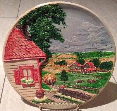 collectible vintage rare Wall plate countryside handmade by artist home decor