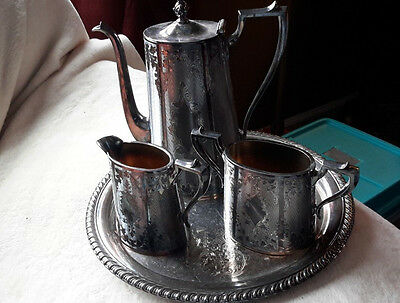 Stunning Antique Toned Silverplate Tea Set By Honan-Quad Plate-Mint Condition