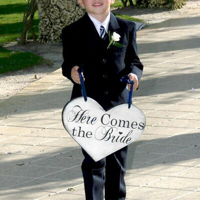 Here Comes the Bride - Heart Shape Wooden Board Wedding Sign Home Party Decor