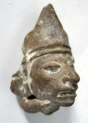 Ancient Pre-Columbian Mayan King Portrait Head Artifact Pottery Fragment #5 yqz