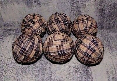 "Primitive Set of 6 - 1.5"" Rag Balls BLACK  & DARK TAN PLAID ~ Bowl / Jar Fillers"