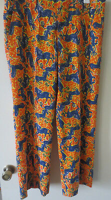 VTG Lilly Pulitzer Palm Beach Men's Stuff Pants WILD UNICORN Print RARE SZ 34