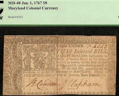 1767 $8 Eight Dollar Bill Maryland Colonial Currency Note Paper Money Pcgs