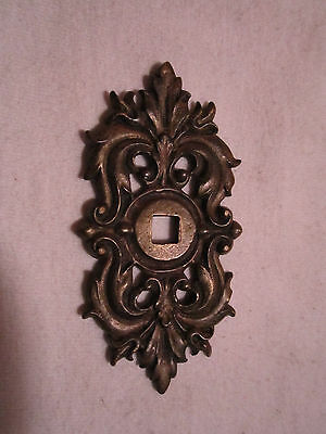 antique solid brass keyhole cover for furniture dresser chinas curios sideboard