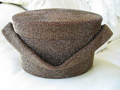 Vintage Iridescent Copper Brown Peacock Nice Mirror Box Crochet Bead Purse