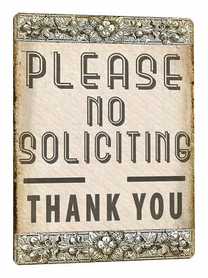 NO SOLICITING METAL SIGN front porch clasic vintage style wall decor plaque 683