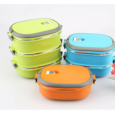 Lunch Box Thermal Insulated Hot Food Container Handle Stainless Steel 1Layers