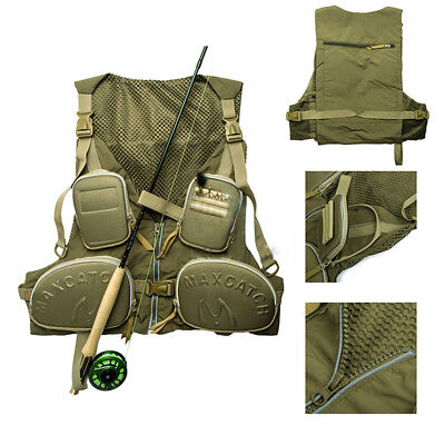 US New Multi pocket Fly Fishing Backpack Chest Vest Pack Outdoor Size Adjustable