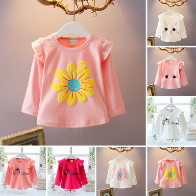 Cute Baby Girls Infant Toddler Kids Cotton Long Sleeve T-shirt Tops Blouse 0-24M