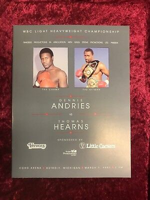 Dennis Andries v Thomas Hearns Boxing Programme Mint Condition