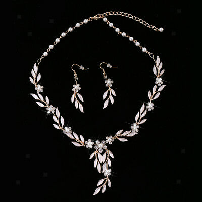 MagiDeal Rhinestone Pearls Necklace Earrings Wedding Banquet Jewelry Set