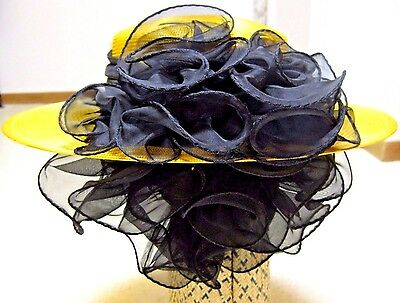 New Boater Hat Wide Brim Ruching Above & Below Derby Wedding Party Dress Church