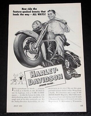 1953 Old Magazine Print Ad, Harley-Davidson Hydra-Glide, Feature Packed Beauty!