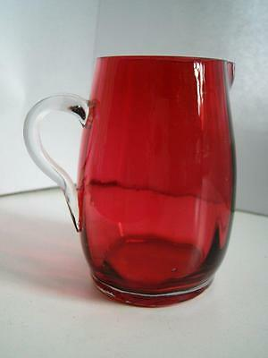 Small Antique Victorian cranberry ruby red glass cream jug late 19thC