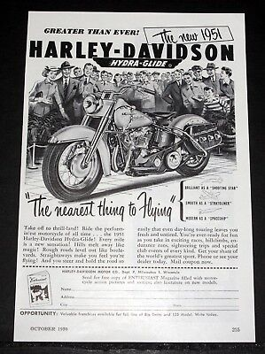 """1950 Old Magazine Print Ad, Harley-Davidson M/c, """"the Nearest Thing To Flying""""!"""