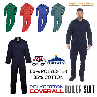 Portwest Euro Work Polycotton Coverall Overall Mechanic Welder Boiler Suit S999