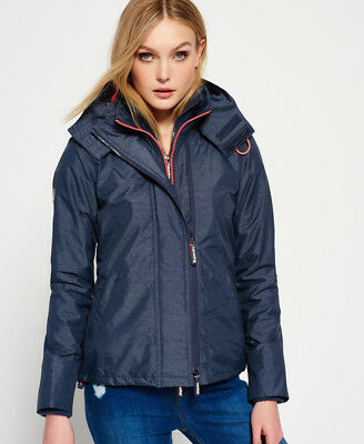 New Womens Superdry Pop Zip Hooded Arctic SD-Windcheater Jacket Mid Charcoal Mar