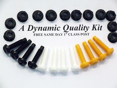 24 Pack Plastic Number Plate Fixing Nut Bolt Kit 4 X White Yellow Black Bolts