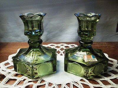 Vintage New Fostoria Coin Glass Candlestick Olive Avocado Green