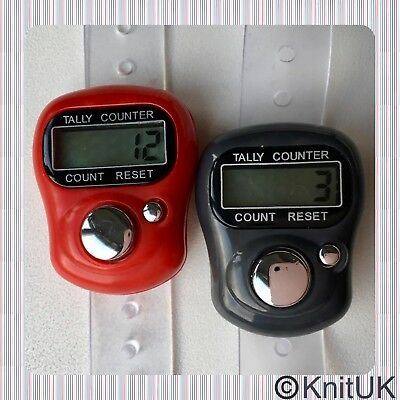 Digital Knitting Row-counter: LCD Tally Counter. 2 Pack (Red & Grey))
