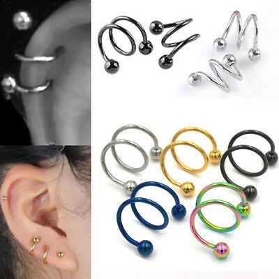 2pcs Stainless Steel Ear Cartilage Helix Conch Studs Earring Piercing Jewelry