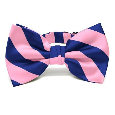 TieMart Pink and Royal Blue Striped Bow Tie