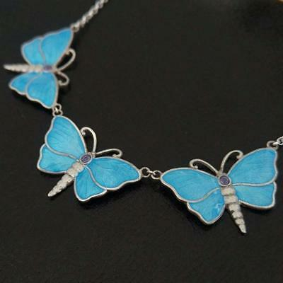 Reproduction Of A Charles Horner Superb Fine Enamel Butterflies Silver Necklace