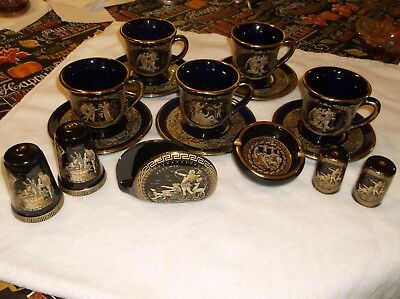 Vintage Terracotta Handmade In 24K. Set Of 5 Cups & Saucers Plus Bonus Pieces.