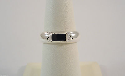 VTG NOS STERLING SILVER BLACK ONYX BAR INLAID MODERN 4.76mm BAND RING SIZE 6 NEW