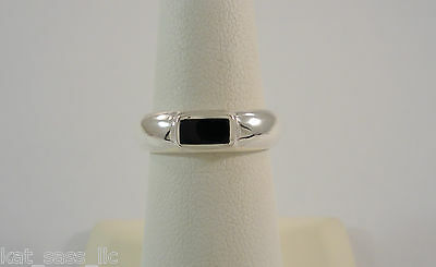 VTG NOS STERLING SILVER & BLACK ONYX INLAY MODERN 4.9mm BAND RING SIZE 6.5 NEW