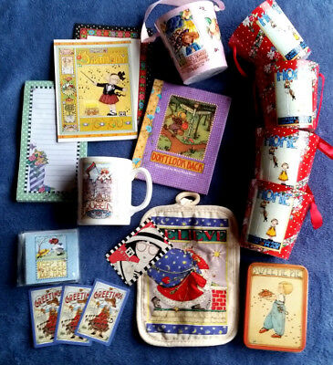 13 pc Asst Cute MARY ENGELBREIT Stuff (Santa,Tin,Mug,Cards,Book,5Pails,Notepad)