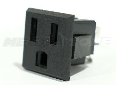 (1 PC) AC Power Outlet 15A/125VAC 3-Prong Female Socket Snap-In Panel USA SELLER