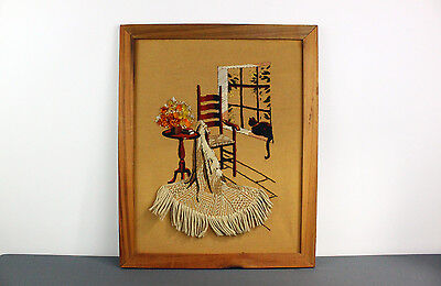 Finished Framed Sunset Stitchery Cat in Window Cozy Corner Crewel Embroidery VTG