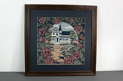 Cat Laying Country House Floral Framed Needlework Finished Needlepoint Vintage