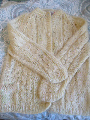Women's Vintage Mohair Cardigan Sweater Made in British Hong Kong Size 40