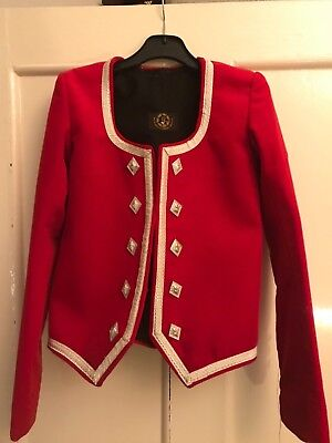 Highland Dancer's Jacket, Red Velvet & Silver Trim. By Tailor Frank
