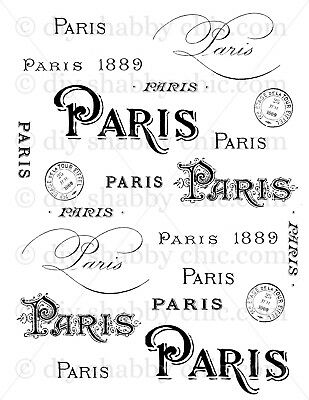 Furniture Home Decal Image Transfer Vintage Paris French Typography Shabby Chic
