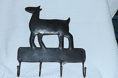 "Animal Dog Wall Metal Holder Hanger w/ 4 Hooks 11"" wide x 12"" high FREE SHIPPING"