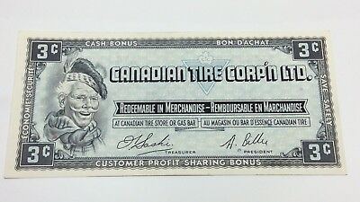 1961 Canadian Tire 3 Three Cents CTC-S1-A Circulated Money Banknote D146