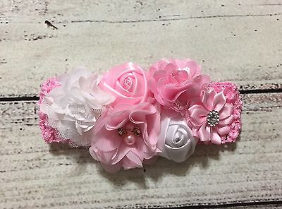 Vintage Pink And White Flowers Baby Girl/ Toddler/Girl Headband