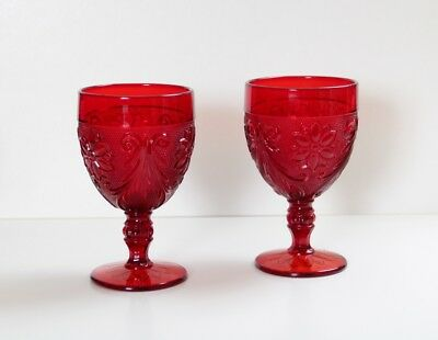 Two Vintage Ruby Red Glass Goblets