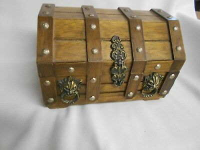 vintage wood wooden treasure chest syle jewelry box with lion faces and drawer