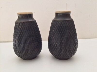 Pair of Bretby Pottery Vases ~ marked 2682D Made in England ~ Bronze finish