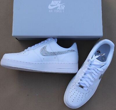 New Rare Nike Air Force 1 '07 White Size 12 Shoes Glitter Swoosh Mens 315122-111
