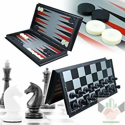 3 in 1 Chess Set With Deluxe Plastic Board Storage 12 Inch Game Box Vintage