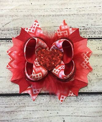 """Handmade 5"""" Valentine Stacked Boutique Hair Bows, Valentine's Day Hair Bow"""