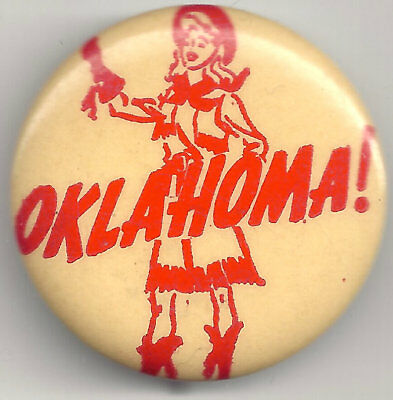 Vintage OKLAHOMA! Musical Pin w/ Cowgirl