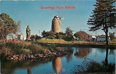 Wamego Kansas~Statue of a Woman~Old Wind Mill~1969 Postcard