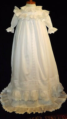 Flawless Victorian Christening Gown, Doube Ruffles, Laces, Broderie Anglaise1890