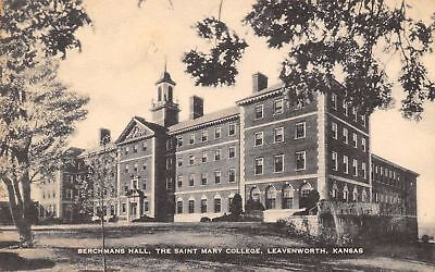 Leavenworth Kansas~Berchmans Hall The Saint Mary College~1905 Postcard